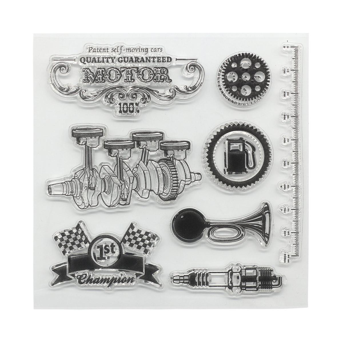 Набор штампов 10,5*10,5см Автовинтаж. Мотор (англ.) SCB4904018b