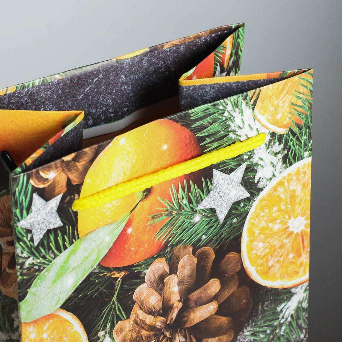 4275593 Пакет под бутылку крафтовый «Новогоднее настроение», 13*36*10 см
