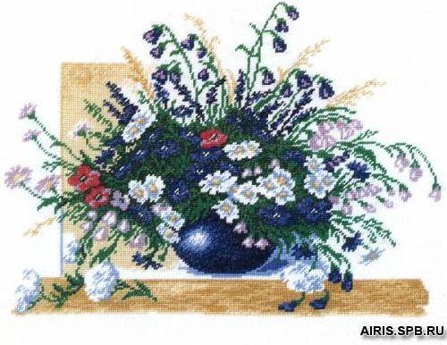 608 Набор для вышивания Hobby&Pro 'Цветы' 27 x 35 см