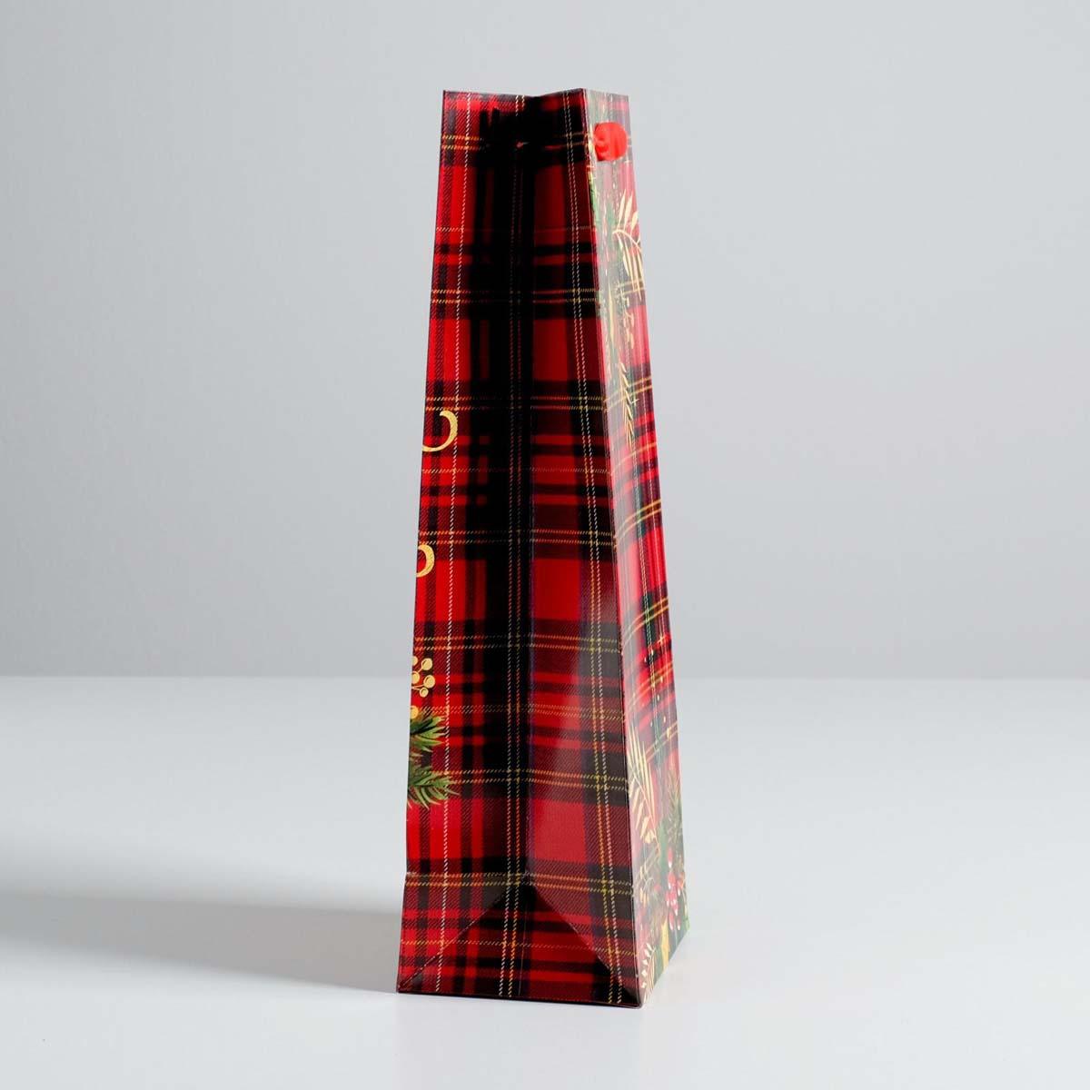 4275603 Пакет под бутылку крафтовый «С Новым годом!», 13*36*10 см