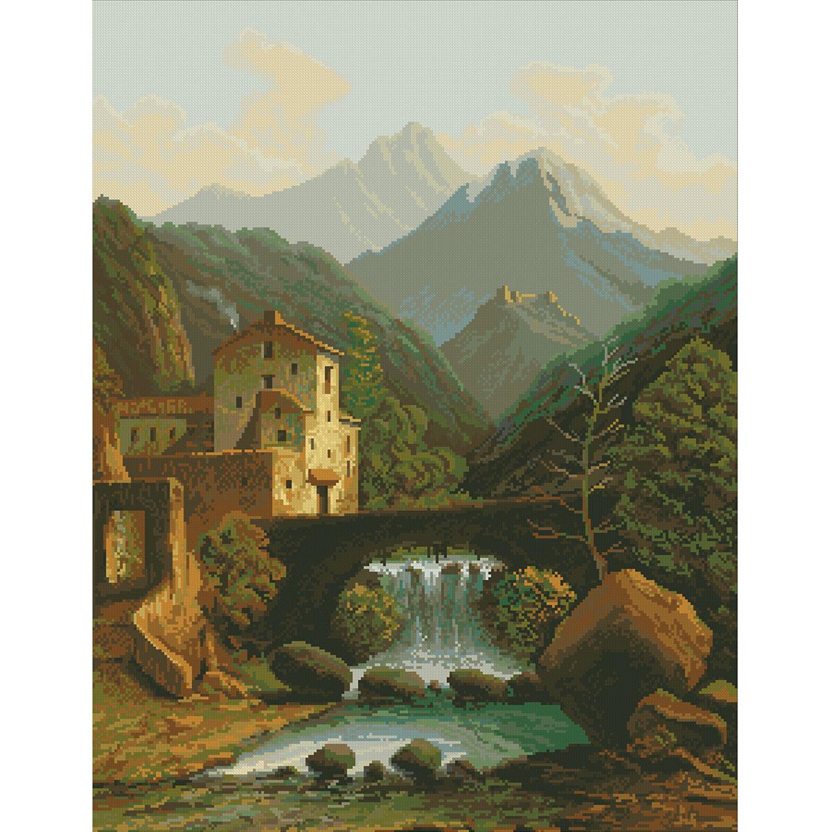 0021 Набор для вышивания Nitex 'Замок в горах', 46х60 см