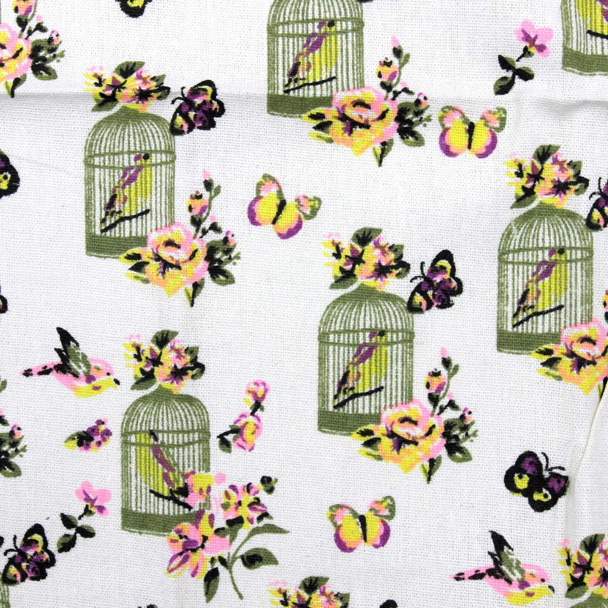 Ткань декоративная 'Птицы в клетке' х/б, 48*48 см