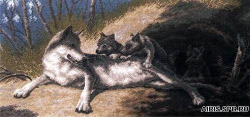 """Набор для вышивания 640 """"Волки"""", 19х42 см, Hobby&Pro"""
