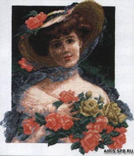 642 Набор для вышивания Hobby&Pro 'Девушка с розами' 27*30см