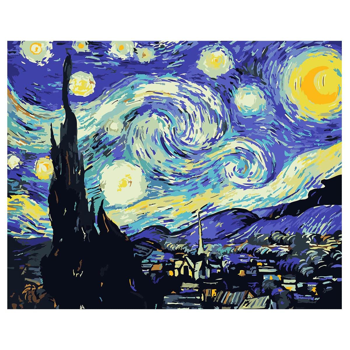 """Картина по номерам  G002 """"Звездная ночь"""" 40х50см."""