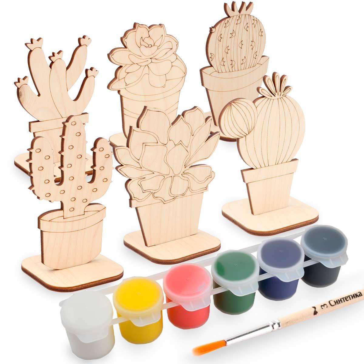 Набор для раскрашивания деревянных заготовок 'Кактусы'