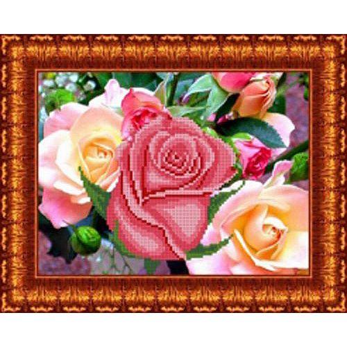 КБЦ-4022 Канва с рисунком для бисера 'Розовый цвет', А4