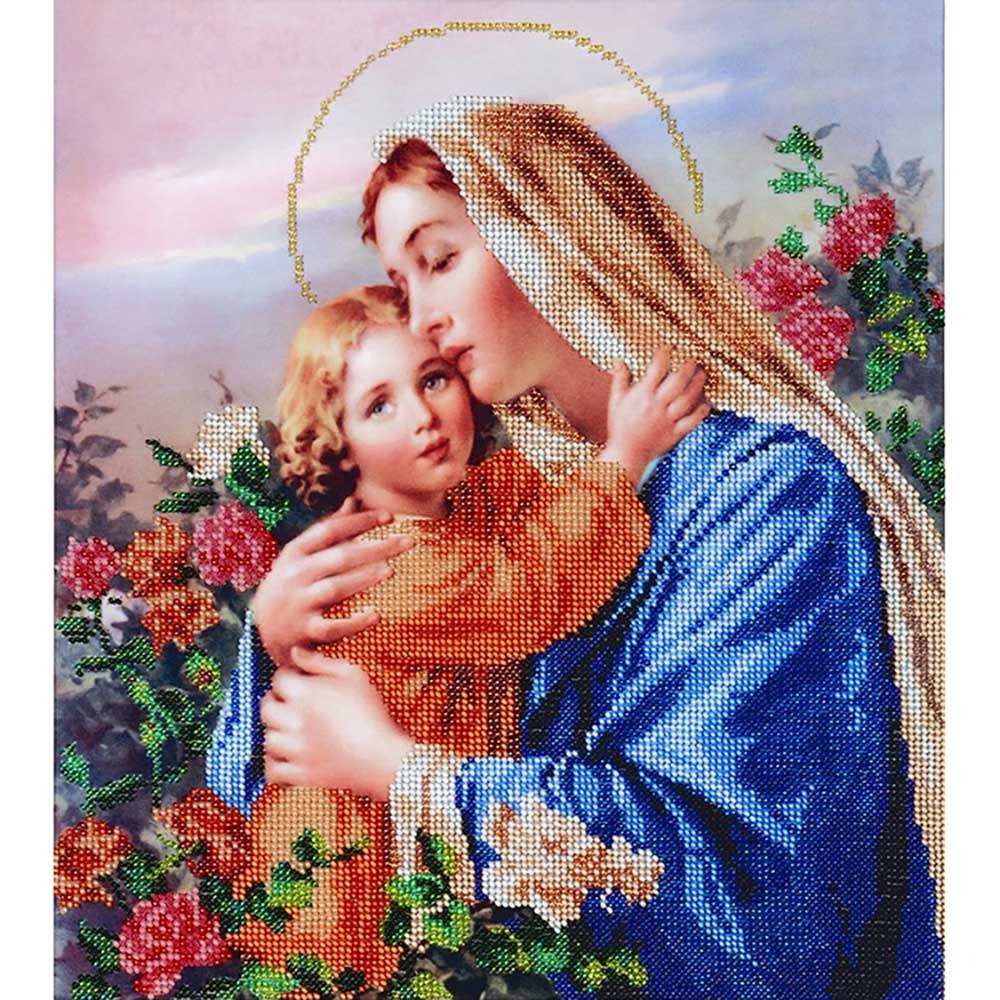 БН-3090 Набор для вышивания бисером Hobby&Pro 'Мадонна среди роз', 30*34 см