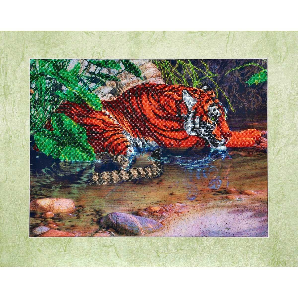 """Набор для вышивания бисером БН-3077 """"Тигр в воде"""", 40х30 см, Hobby&Pro"""