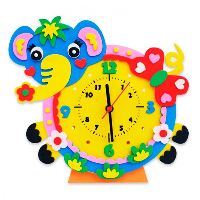 CL006 Слон часы - набор для творчества из фоамирана Color KIT 24*24см
