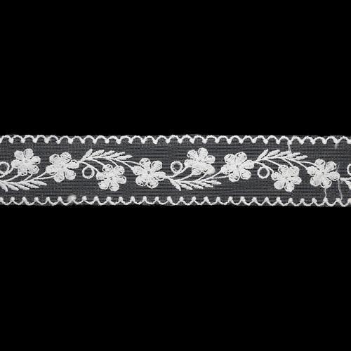 1AS-180 Кружево на сетке 42 мм*3м, белый, розничная упаковка