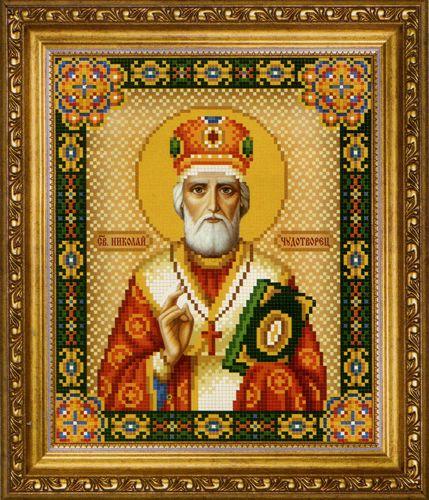 СБ-1010 Схема для вышивания бисером Hobby&Pro 'Икона 'Святителя Николая Чудотворца', 17,7*21,7 см