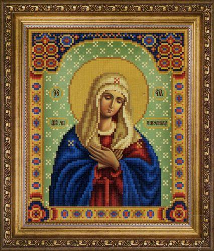СБ-1011 Схема для вышивания бисером Hobby&Pro Икона Божьей Матери 'Умиление', 17,7*21,7 см