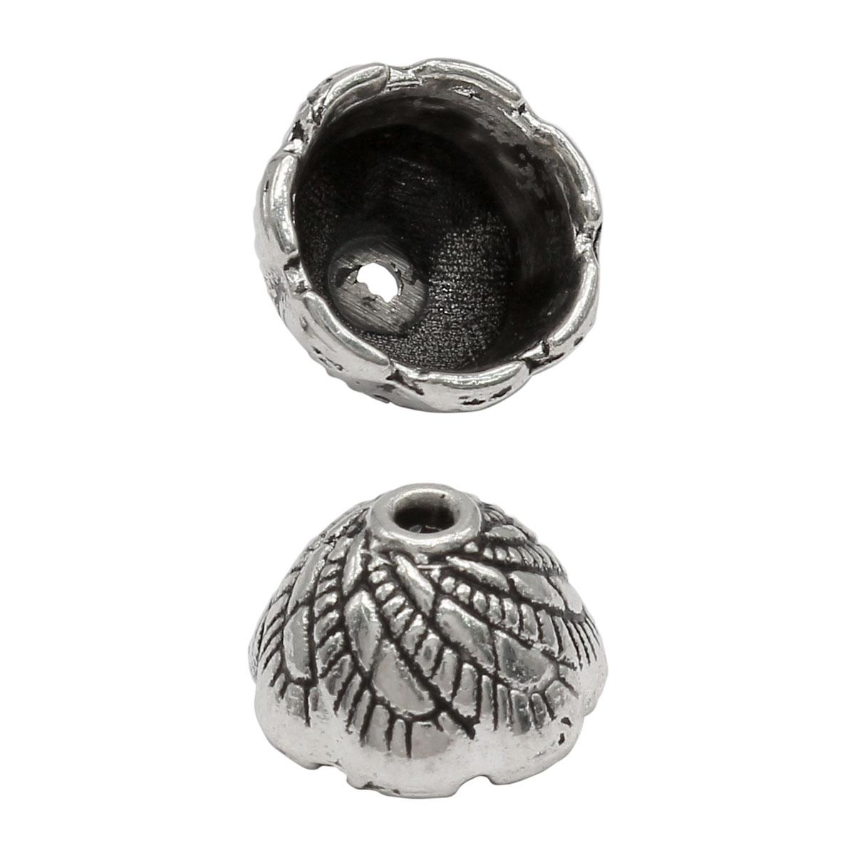 Шапочка для бусин 4AR277, 10,5мм, серебро, 10шт/упак, Астра