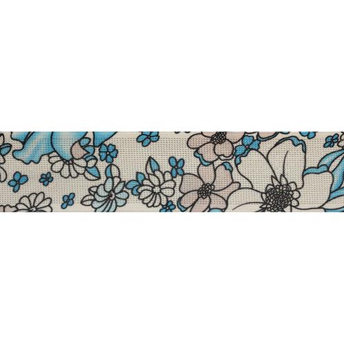 Эластичная тесьма с метанитью 'Голубые цветы'5см*22м