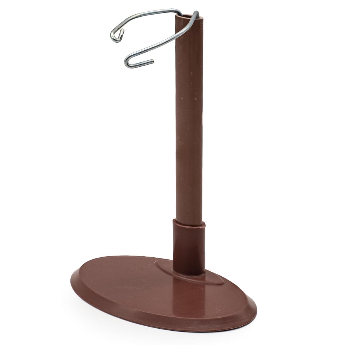 28892 Подставка для кукол овальная 10см, H-13-23см : пластик/металл, цв. коричн.