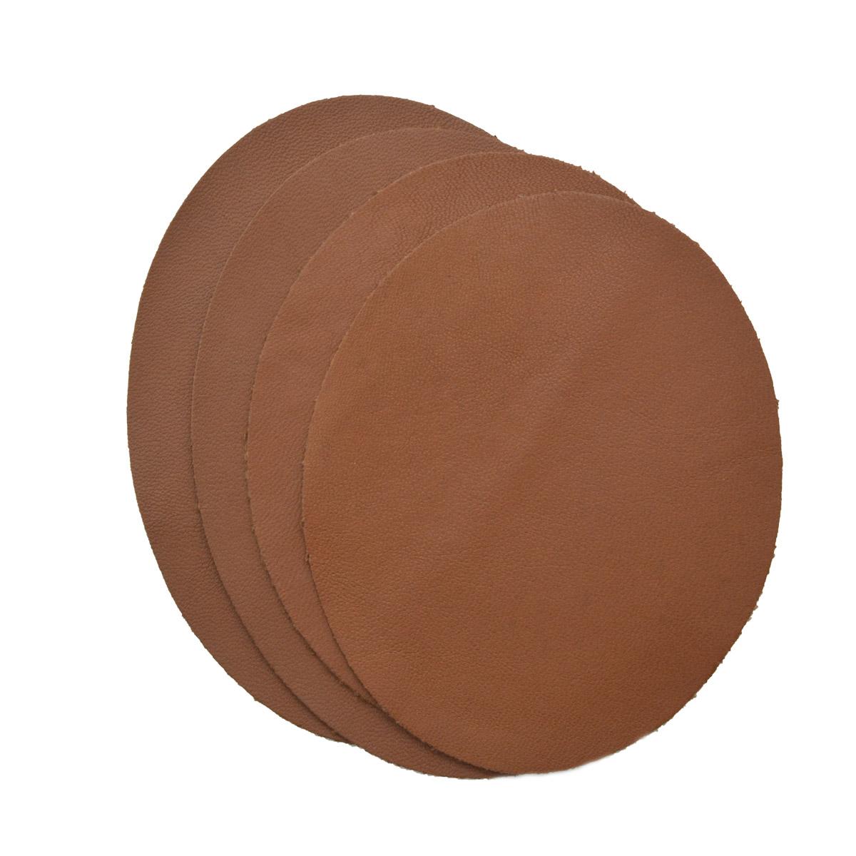215 Набор заплаток термоклеевых из кожи: овал малый 2шт. овал средний 2шт, 100% кожа