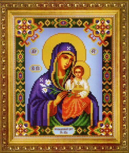 СБ-1006 Схема для вышивания бисером Hobby&Pro Икона Божьей Матери 'Неувядаемый Цвет', 17,7*21,7 см