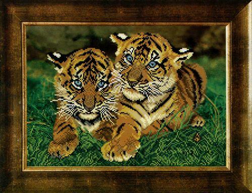 СБ-1026 Схема для вышивания бисером Hobby&Pro 'Тигрята', 34,5*24,5 см