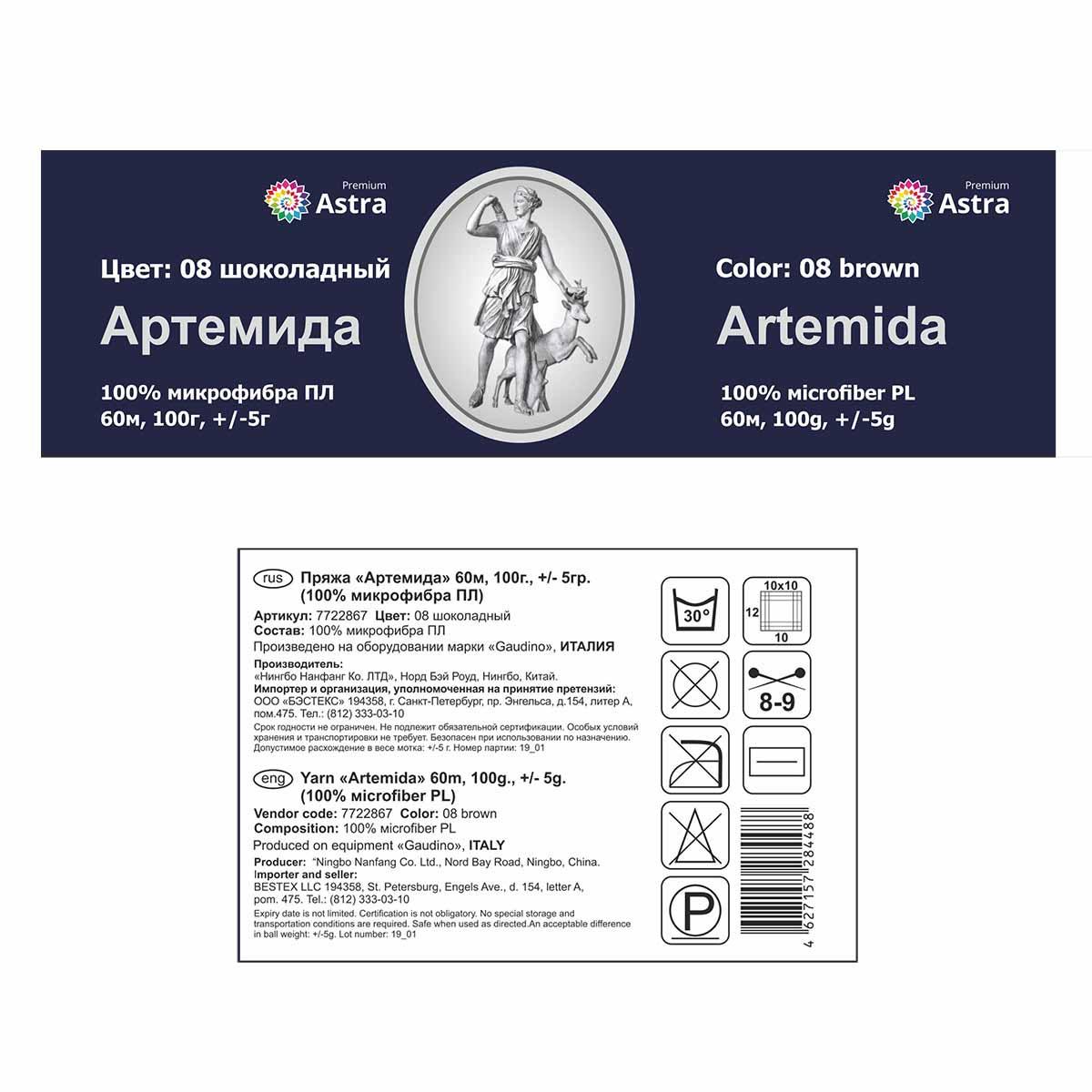 Пряжа Astra Premium 'Артемида' 100гр. 60м (100% микрофибра ПЛ)