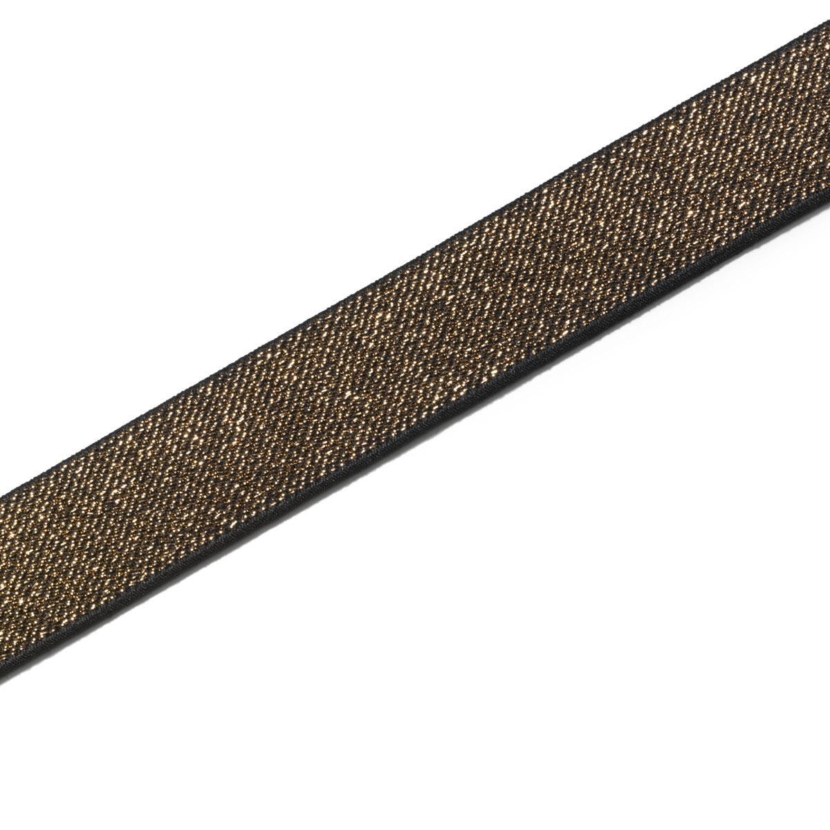 957468 Эластичная лента Color 25мм*7м, шоколад/золото