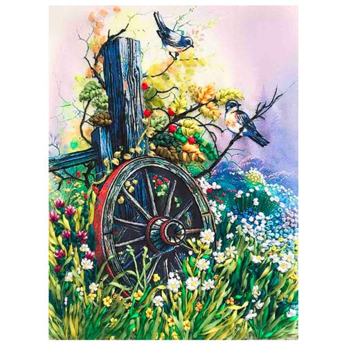 КЛ(л)-3021 Набор для вышивания лентами 'Старое колесо' 27*34,5см