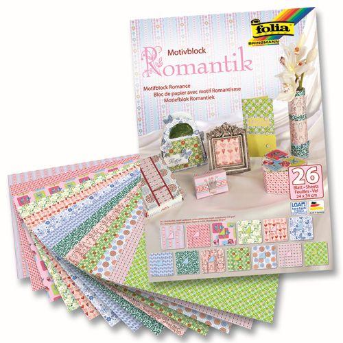 46949 Набор дизайнерского картона 'Романтика', 13 л.*270 г/м², 13 л.*80 г/м², 24*34 см, Folia