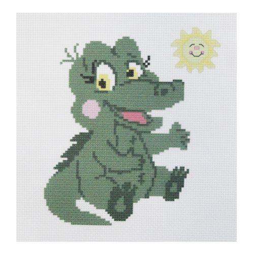 ПК-104 Набор (рис/канв. мулине) Hobby&Pro 'Крокодильчик', 22*22 см