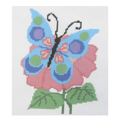 ПК-110 Набор (рис/канв. мулине) Hobby&Pro 'Бабочка на цветке', 22*22 см
