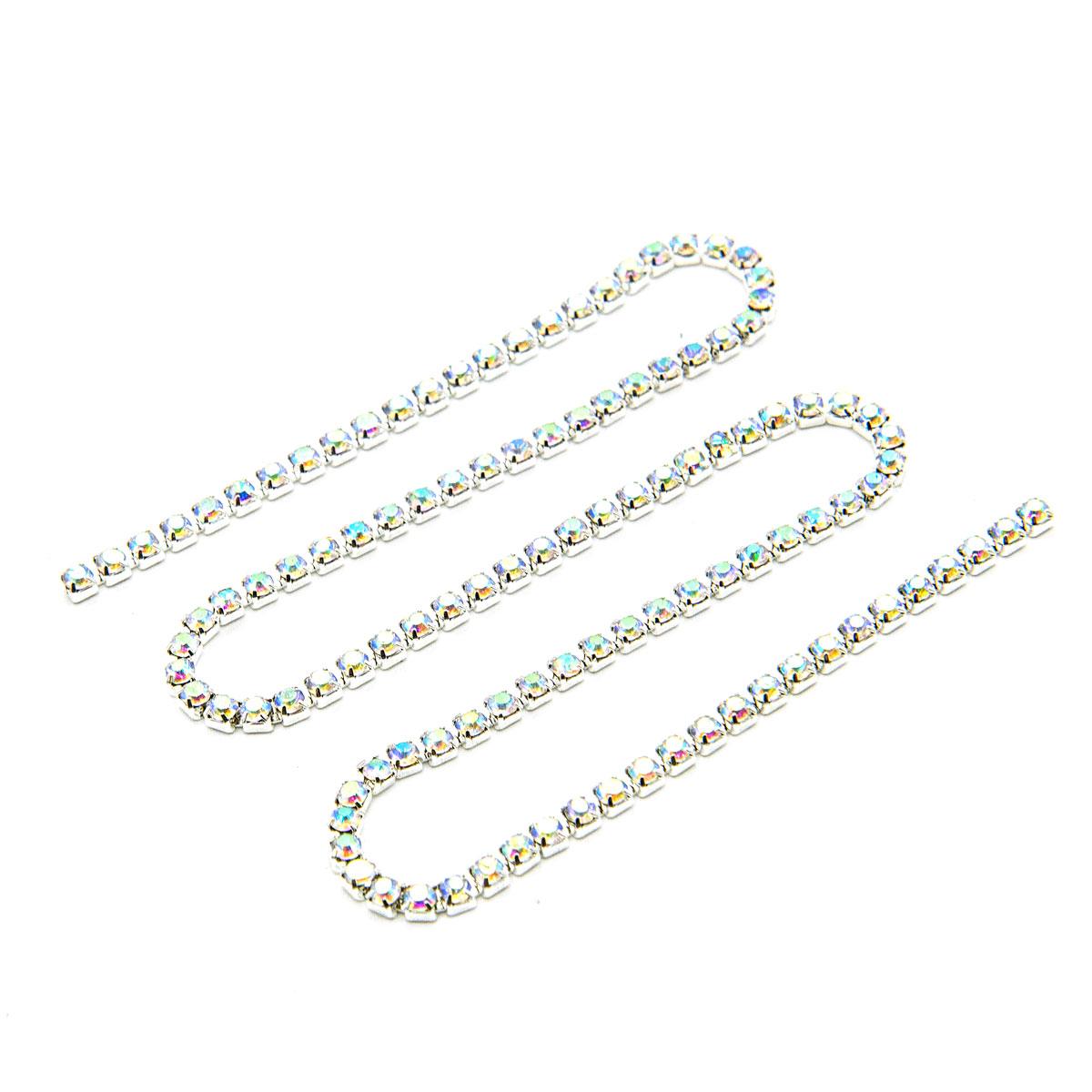 ЦС002СЦ2 Стразовые цепочки (серебро), цвет: белый с AB покрытием, размер 2 мм, 30 см/упак.
