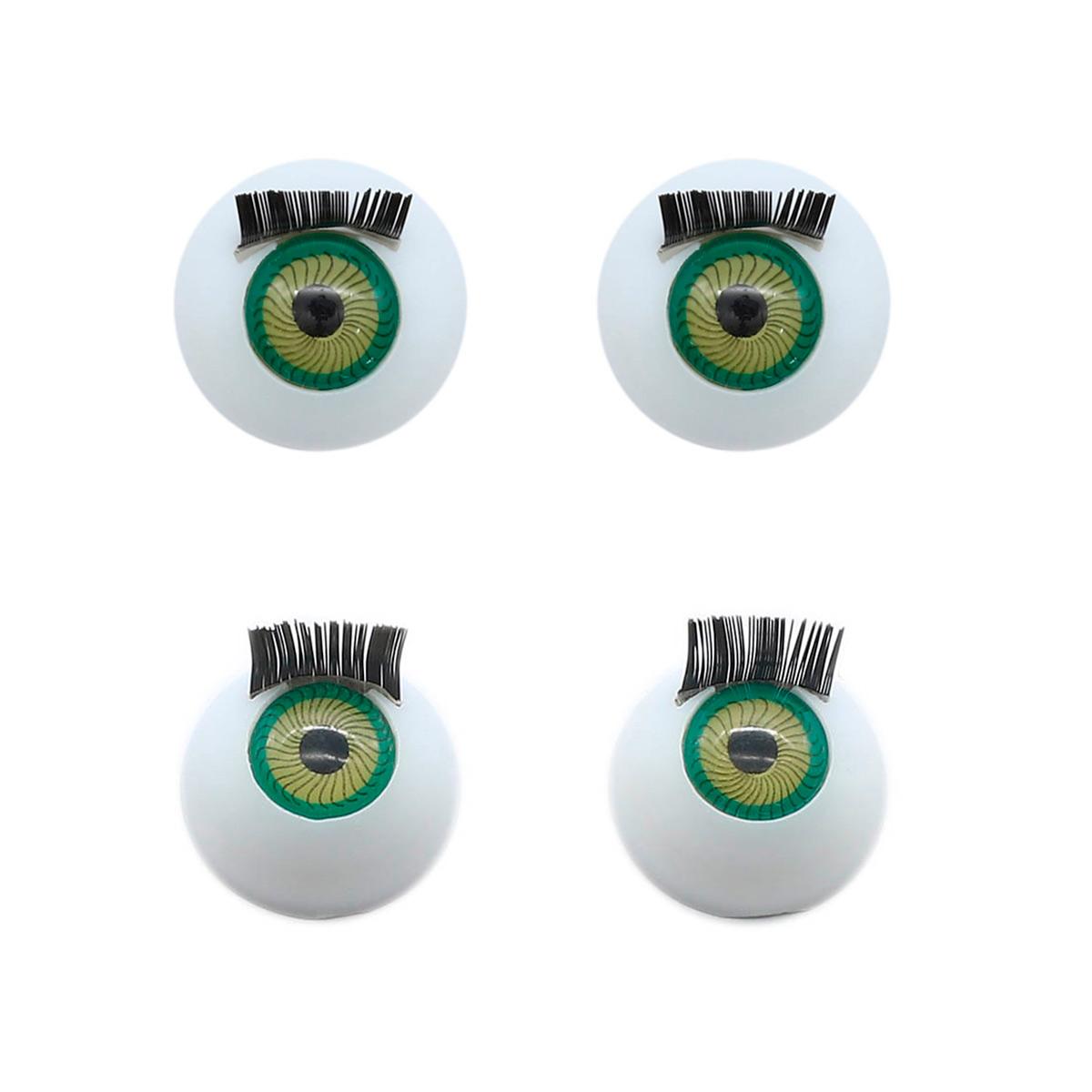 Глаза с ресничками круглые 16мм, 4 шт/упак