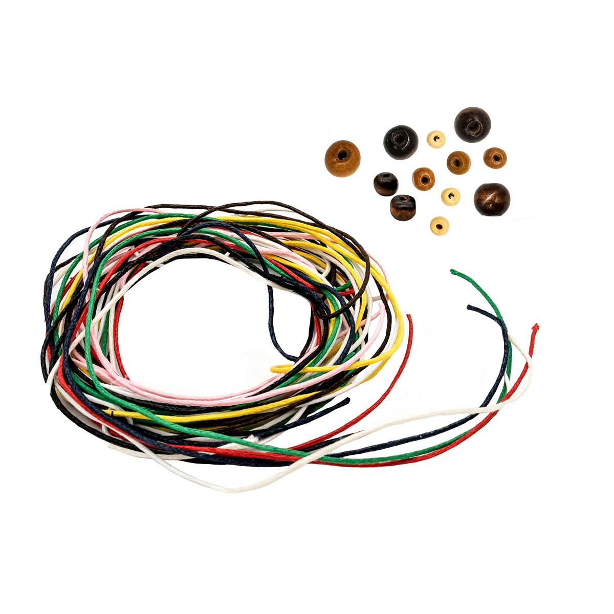 Большой набор деревянных бусин (коричневые цвета) с вощеным шнуром 440шт/упак, Астра