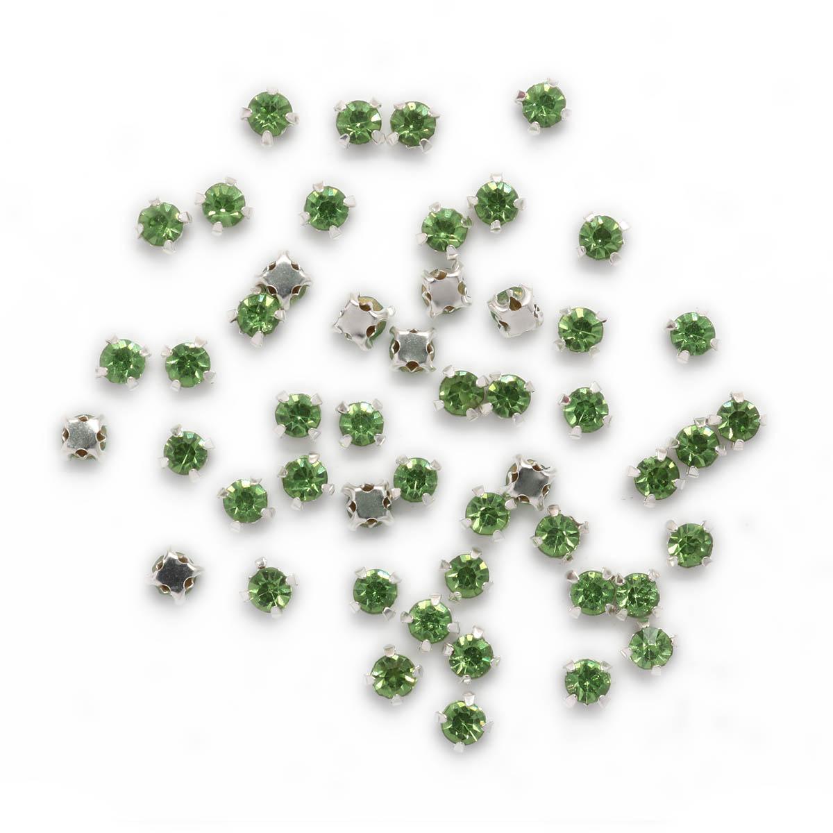 Стразы в цапах 4мм, 6 цветов, цвет оправы серебро, Астра