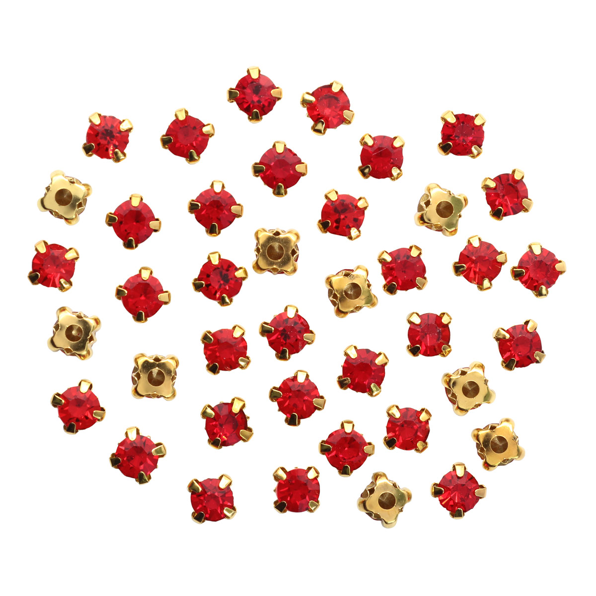 Стразы в цапах 6мм, 6 цветов, цвет оправы золото, Астра