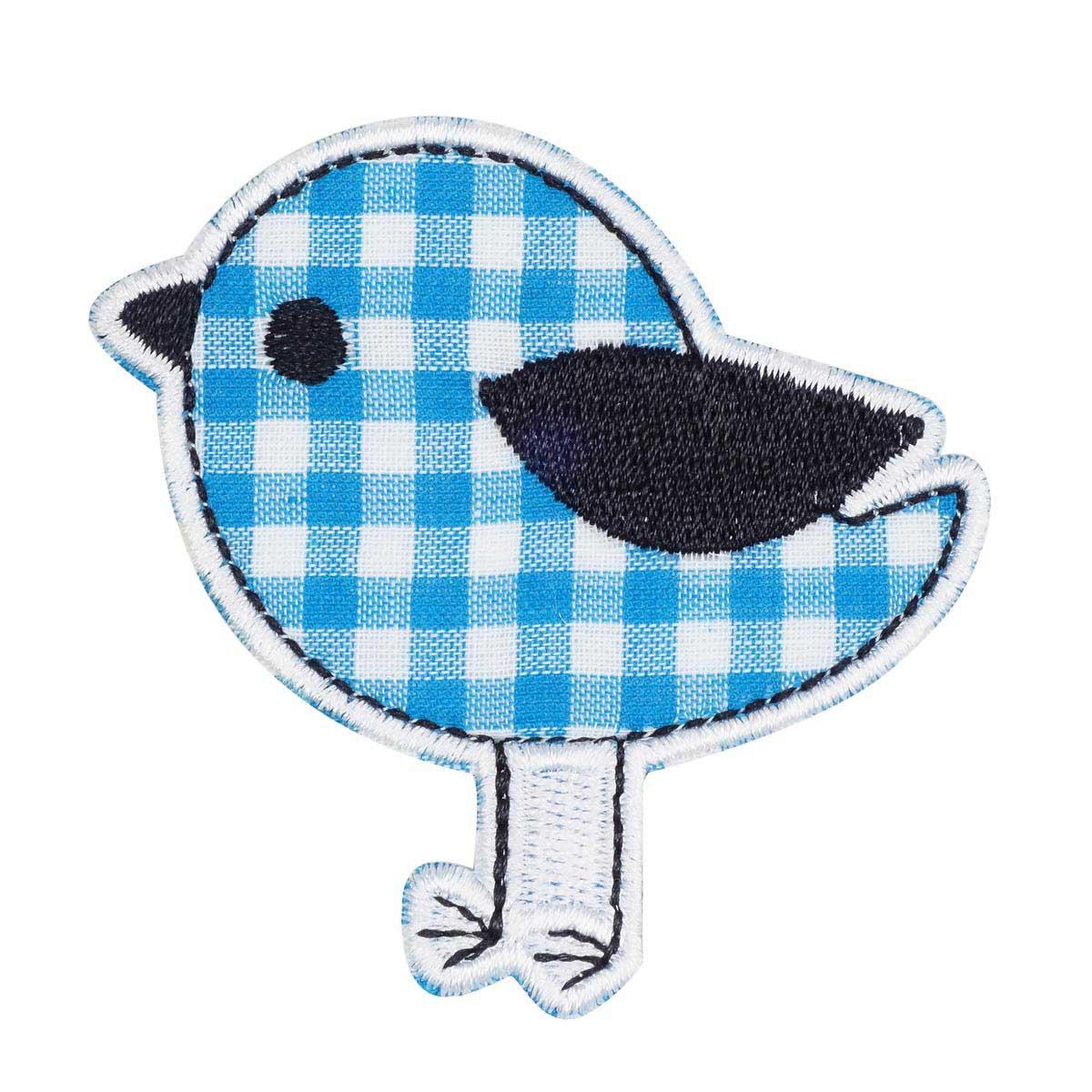 EMB-17012 Термоаппликация 'Птичка синяя' 6,5*6cm Hobby&Pro
