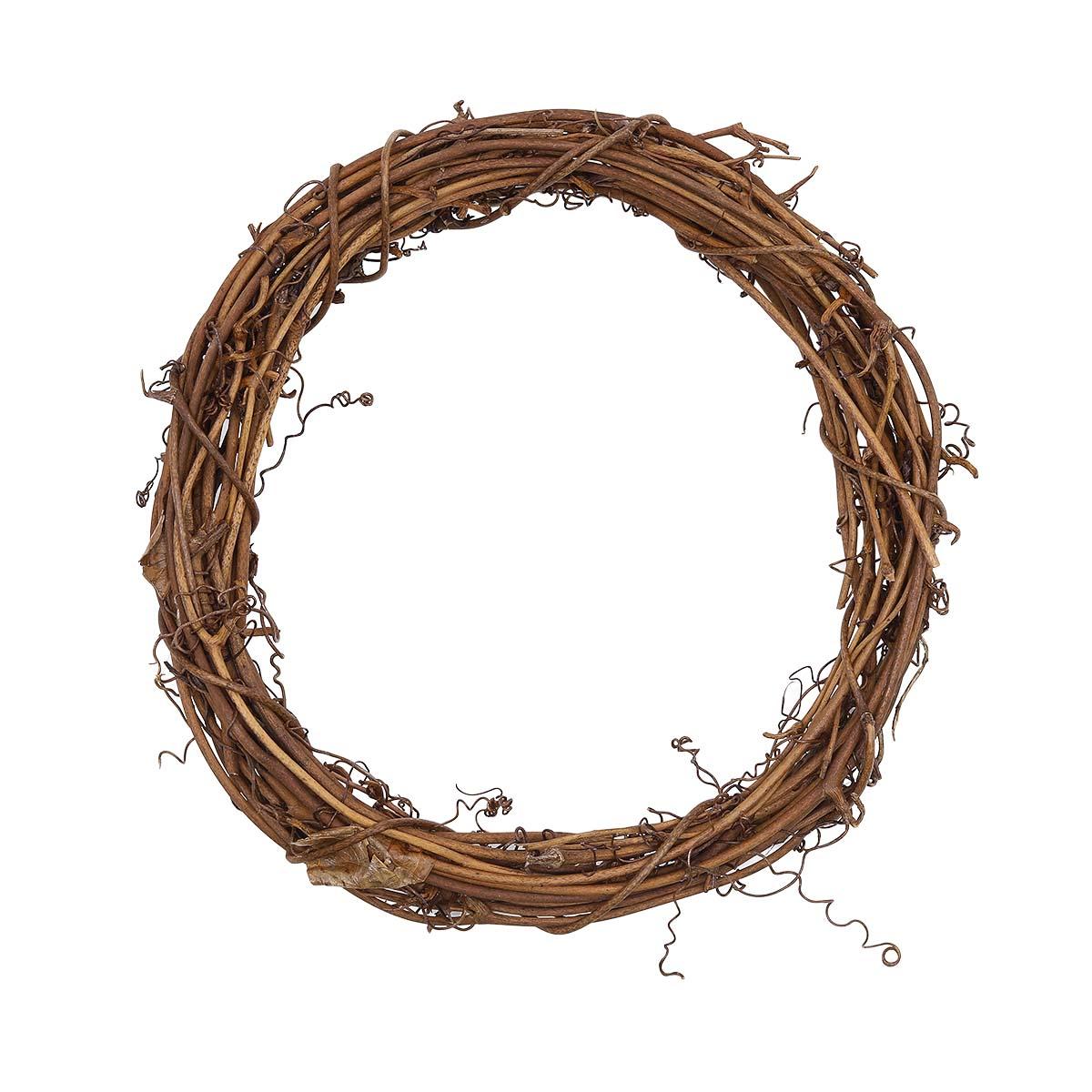 AR029 Венок плетеный коричневый, 20см