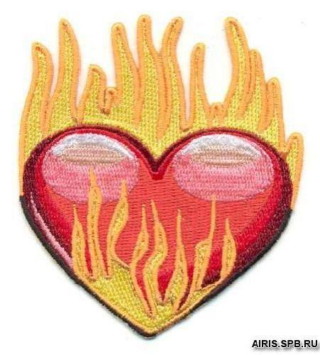 AD1024 Термоаппликация 'Сердце в огне', 9*8 см, Hobby&Pro