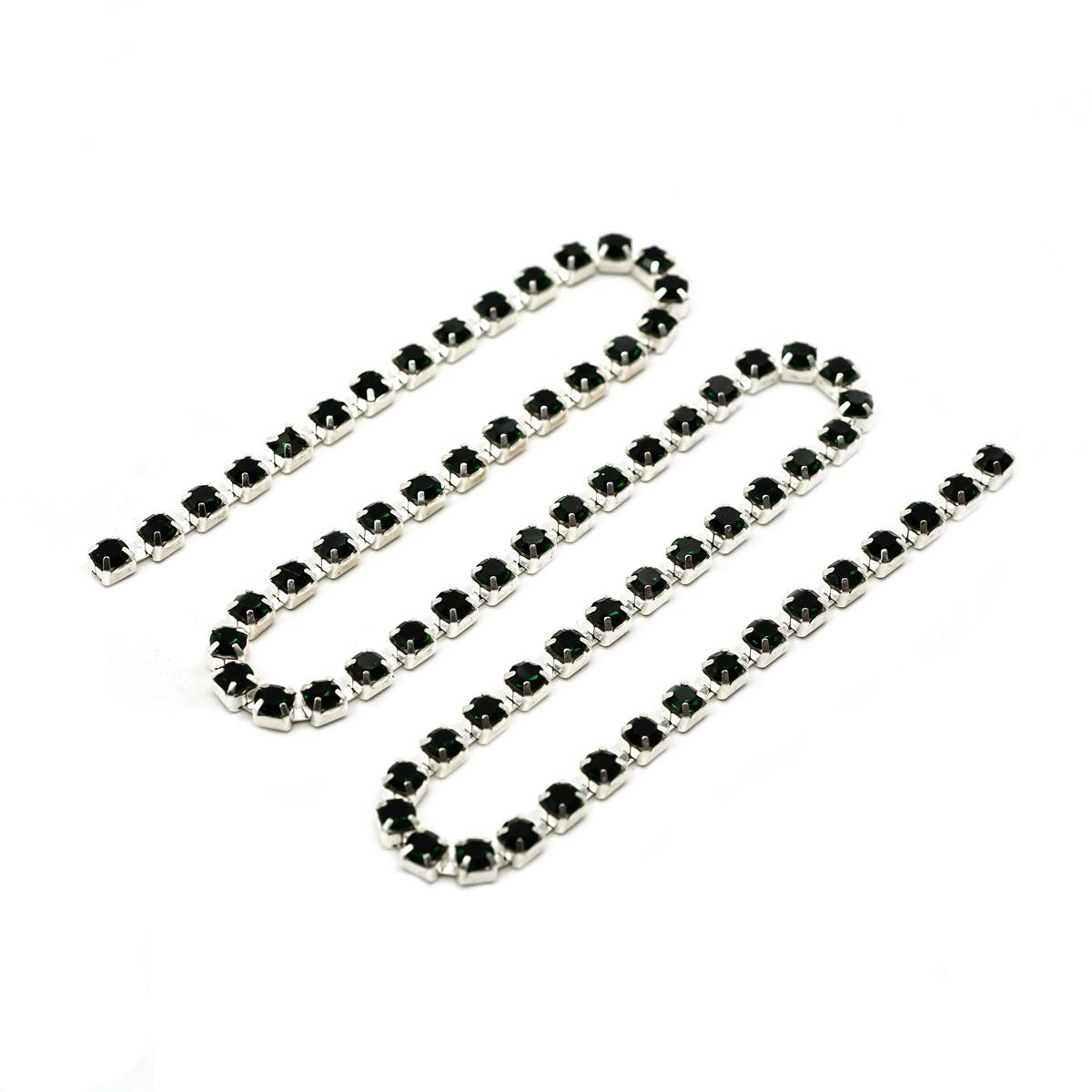 ЦС010СЦ3 Стразовые цепочки (серебро), цвет: изумрудный размер 3 мм, 30 см/упак.