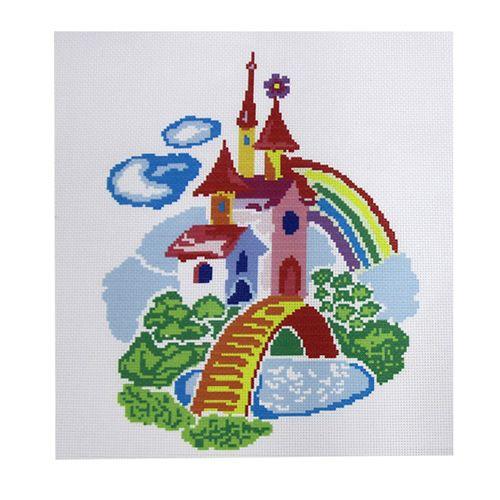 ПК-201 Набор (рис/канв. мулине) Hobby&Pro 'Акварельный замок', 33*33 см