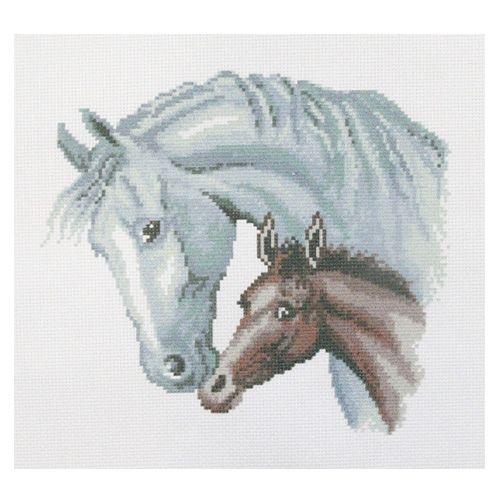 ПК-204 Набор (рис/канв. мулине) Hobby&Pro 'Лошадь с жеребёнком', 33*33 см