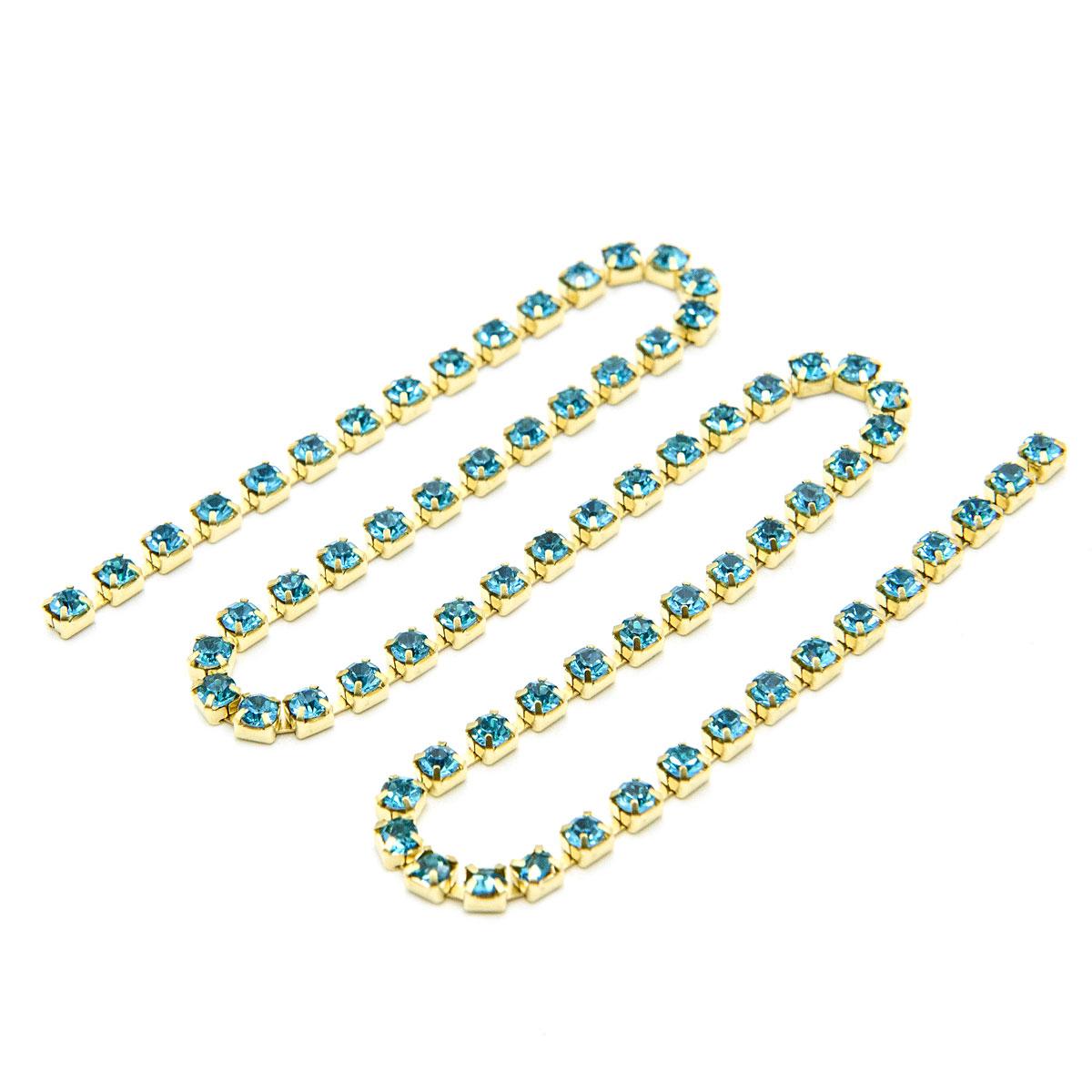 ЦС003ЗЦ3 Стразовые цепочки (золото), цвет: ярко-голубой, размер 3 мм, 30 см/упак.