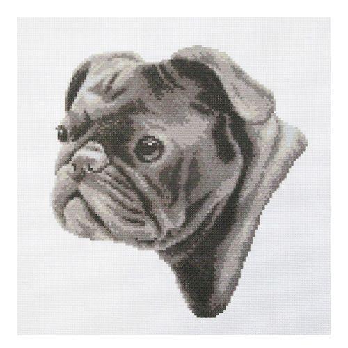 """Набор рисунок на канве + мулине ПК-205 """"Мопс"""", 33х33 см, Hobby&Pro"""