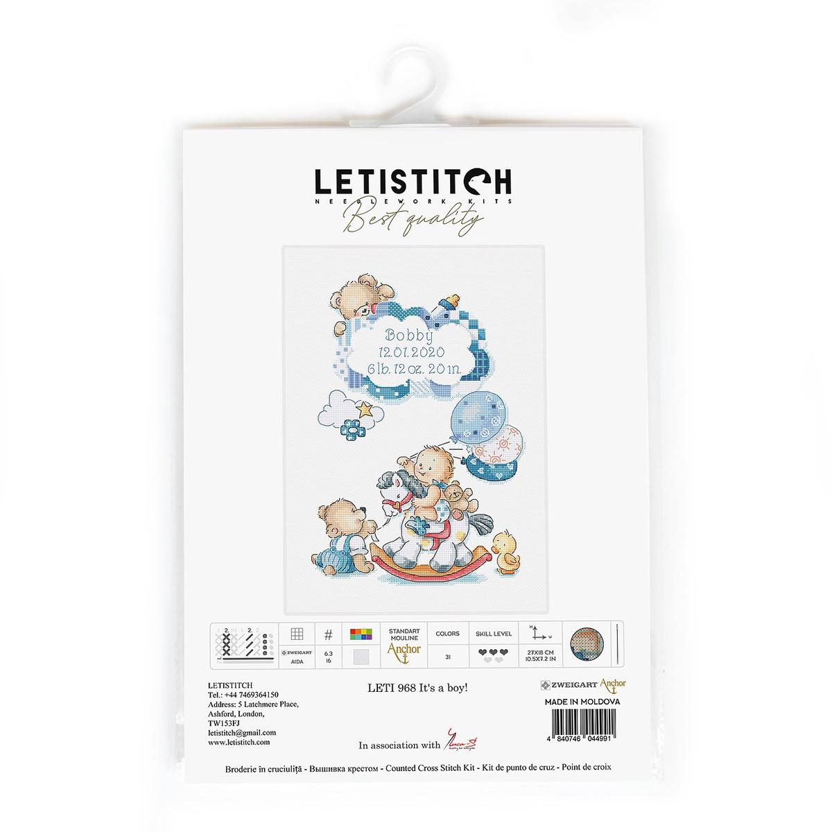 Leti968 Набор для вышивания LetiStitch 'Метрика. Это мальчик!' 27*18см