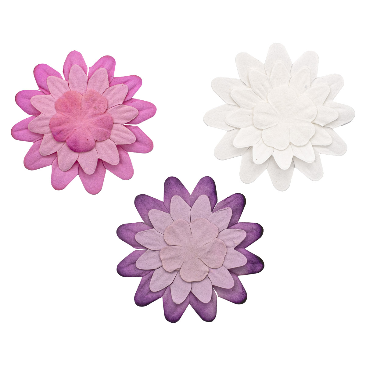 Набор принтованных бумажных цветочков 'Бело-розовое ассорти' 20мм, 35мм, 50мм, 180шт