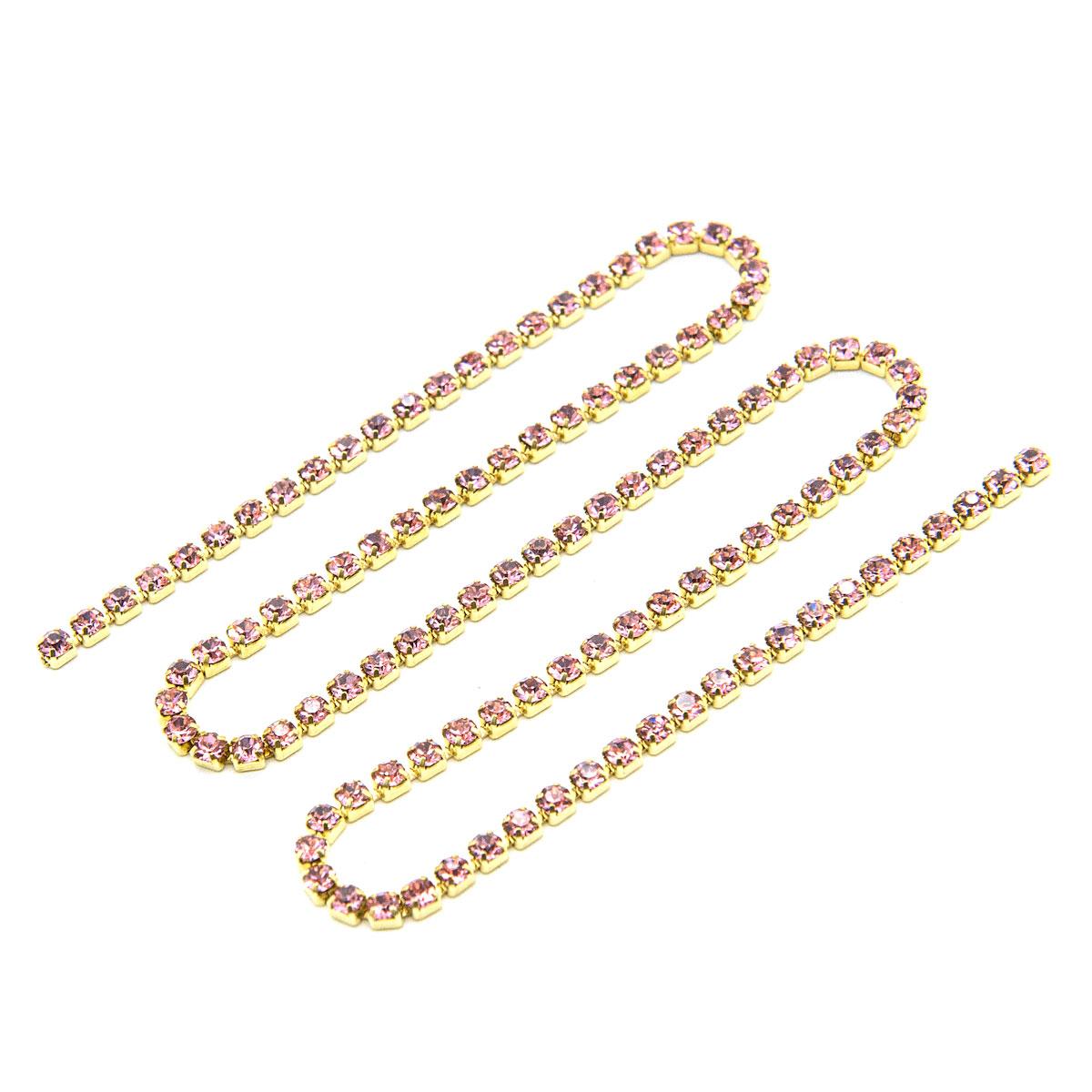 ЦС006ЗЦ2 Стразовые цепочки (золото), цвет: розовый, размер 2 мм, 30 см/упак.
