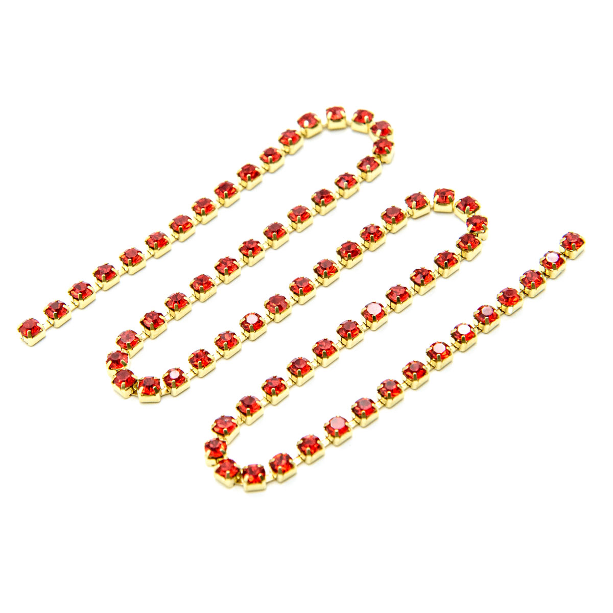 ЦС007ЗЦ3 Стразовые цепочки (золото), цвет: красный, размер 3 мм, 30 см/упак.