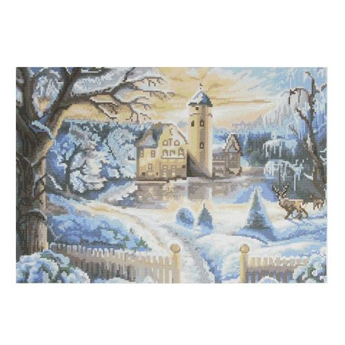 "Набор рисунок на канве + мулине ПК-301 ""Зимний замок"", 44х35 см, Hobby&Pro"