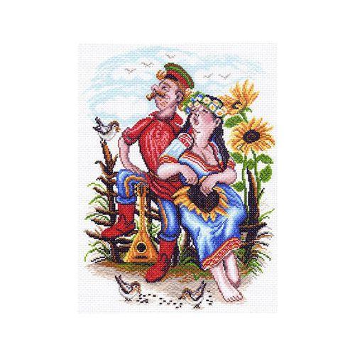 1551 Канва с рисунком 'Матренин посад' 'Двое на околице', 37*49 см
