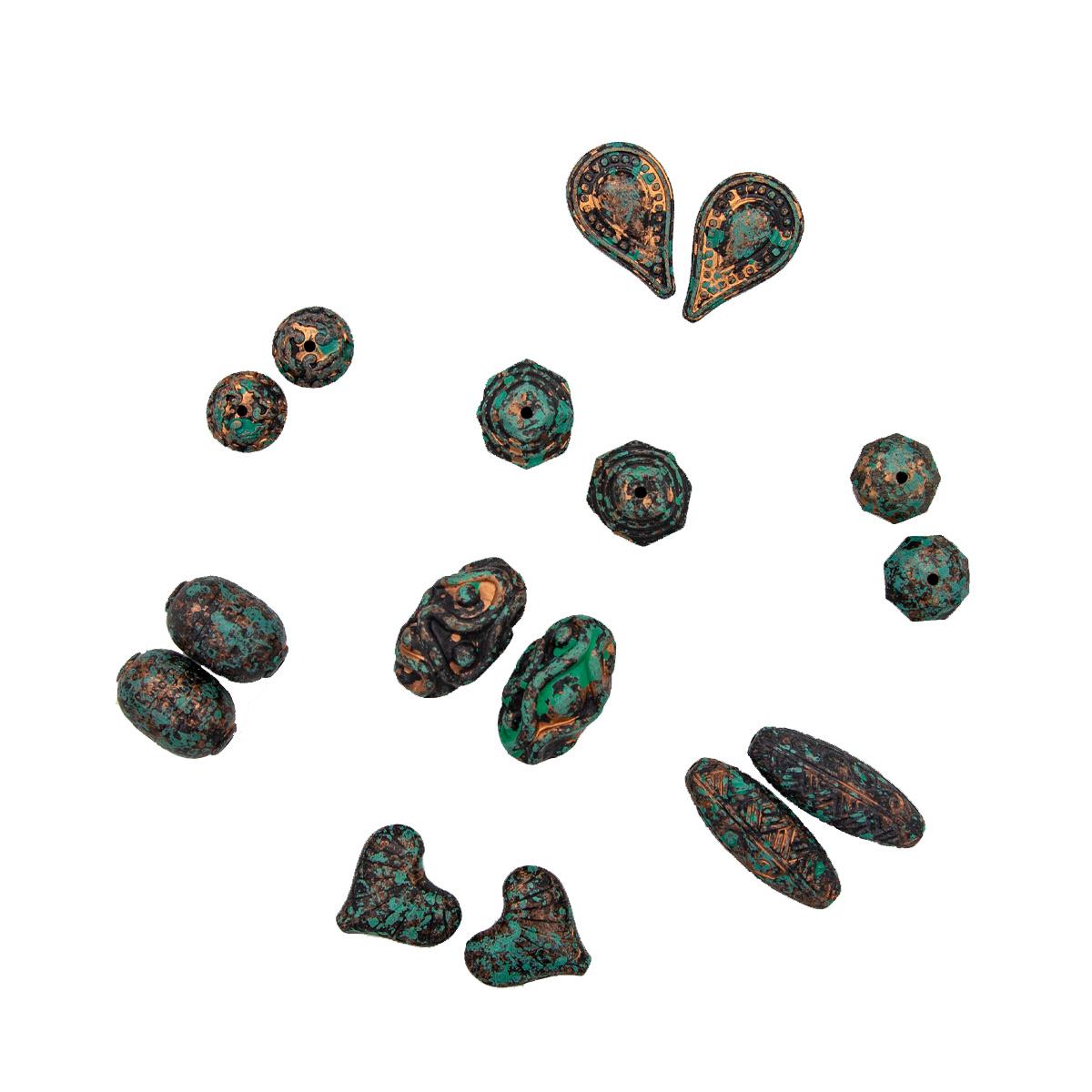 Большой набор пластиковых бусин в античном стиле, 8 дизайнов по 25гр. (66шт), Астра