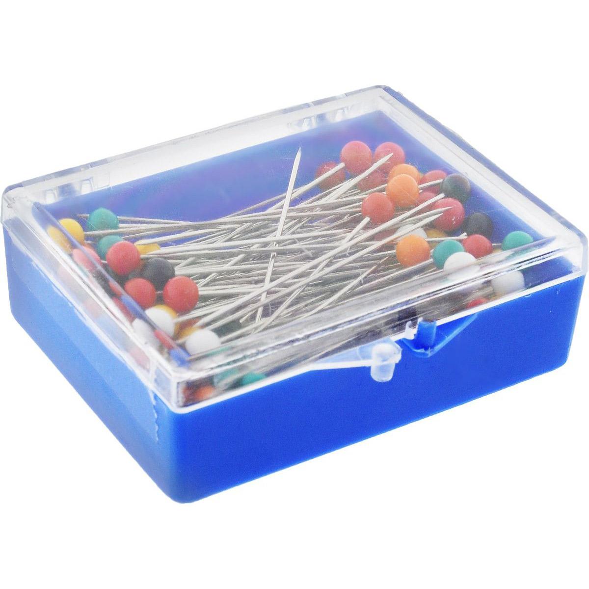 28814 Булавки наметочные с цветной головкой 0,65мм/45мм, сталь/пластик, 100шт PONY